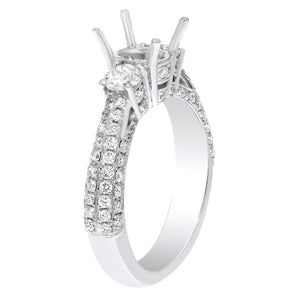 18K White Gold Semi-mount Ring, 1.10 Carats