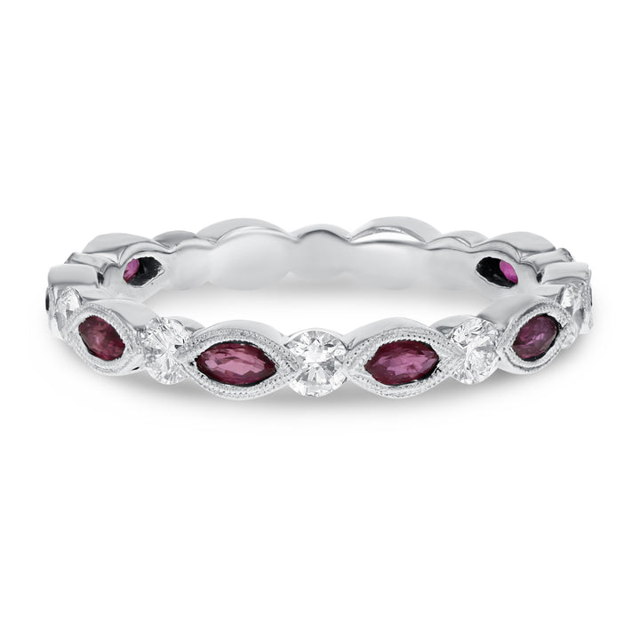 18K White Gold Diamond and Gemstone Ring, 1.17 Carats