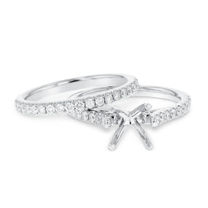 18K White Gold Wedding and Engagement Ring Set, 0.70 Carats - R&R Jewelers