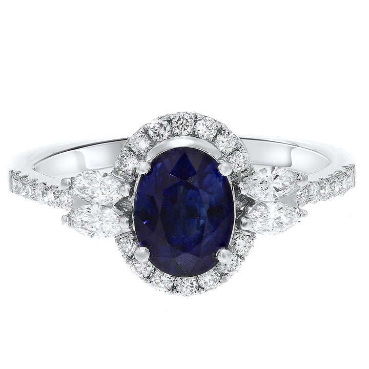 Diamond Halo and Sapphire Fashion Ring - R&R Jewelers