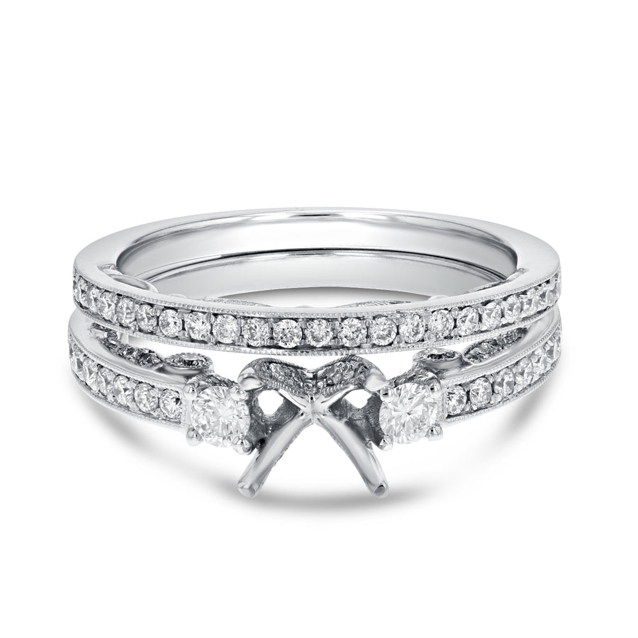 18K White Gold Wedding and Engagement Ring Set, 0.67 Carats