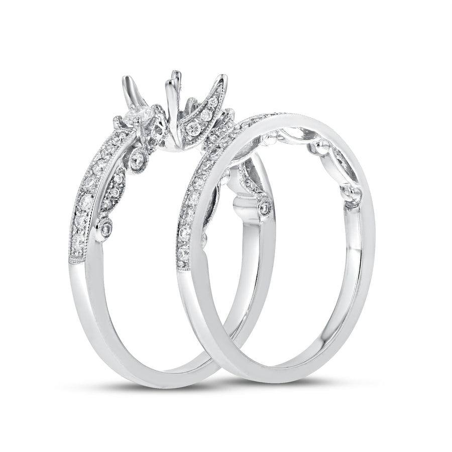 18K White Gold Wedding and Engagement Ring Set, 0.67 Carats - R&R Jewelers