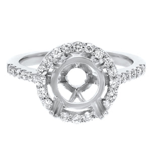 18K White Gold Semi-mount Ring, 0.49 Carats