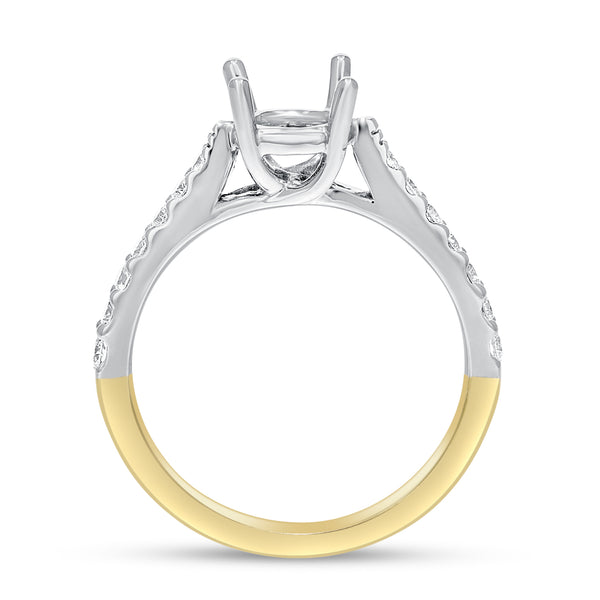 18K TWO TONE GOLD Semi-mount Ring, 0.37 Carats