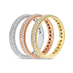 Diamond TRI-COLOR GOLD Eternity Band Set, 2.21 Carats