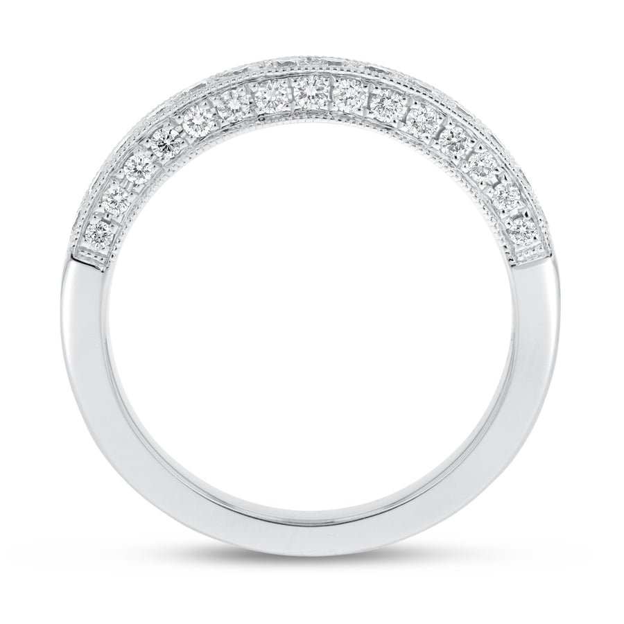 Vintage Trio Pavé Diamond Band in 18K White Gold, 0.56 Carats