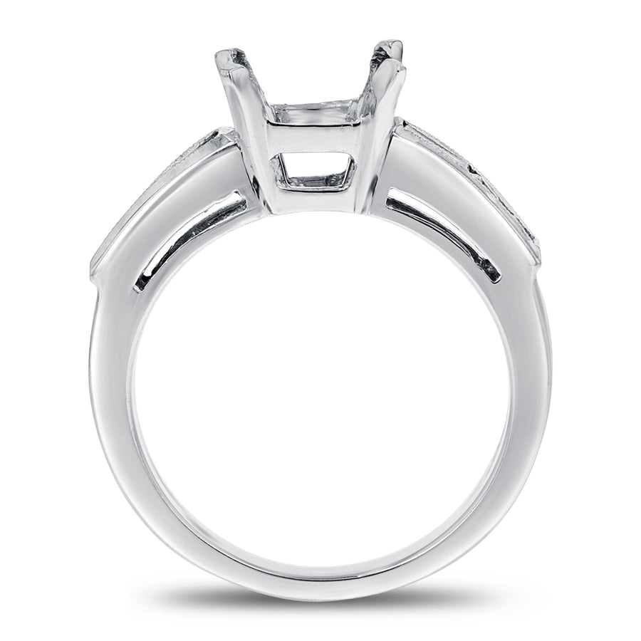 Channel Set Diamond Semi-Mount Ring in Platinum - R&R Jewelers