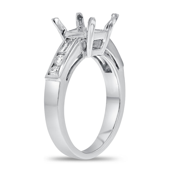 PLAT White Gold Semi-mount Ring, 0.36 Carats