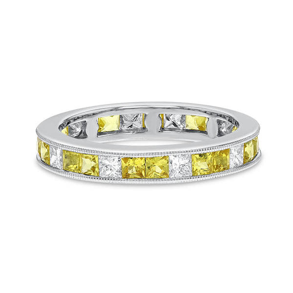 Diamond and Yellow Sapphire Eternity Band - R&R Jewelers