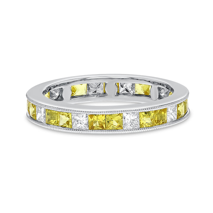 SAP White Gold Alternating Eternity Band, 1.26 Carats