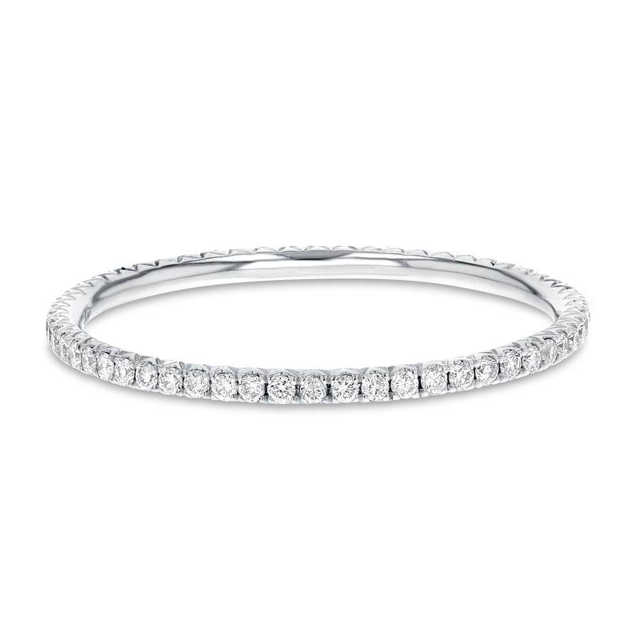 Diamond White Gold Petite Eternity Band, 0.24 Carats