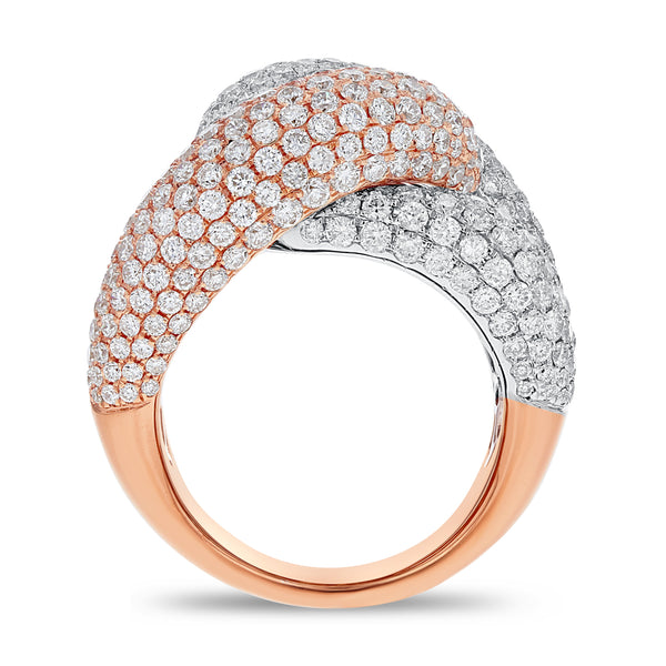 18K WHITE AND ROSE GOLD Statement Ring, 6.12 Carats