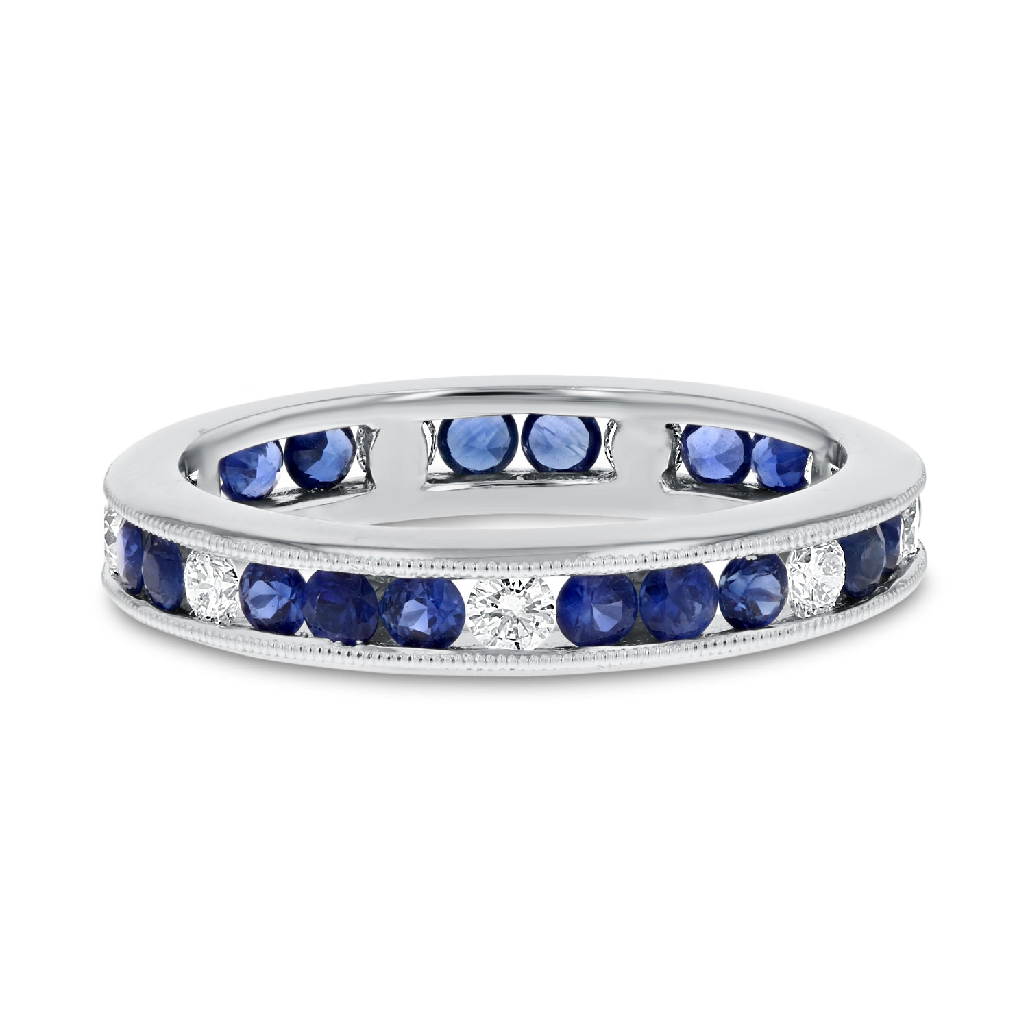 18K White Gold Diamond and Gemstone Ring, 1.36 Carats