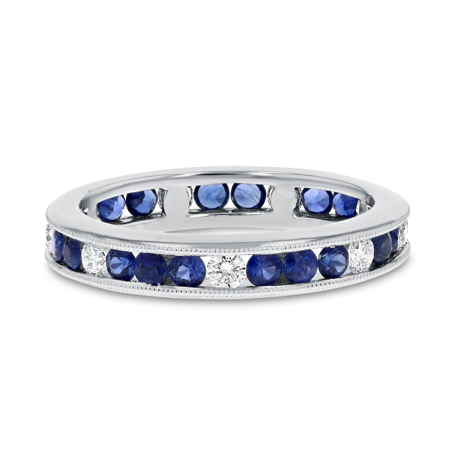 Sapphire White Gold Alternating Eternity Band, 1.36 Carats