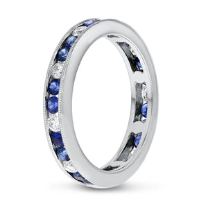 Sapphire White Gold Alternating Eternity Band, 1.36 Carats - R&R Jewelers