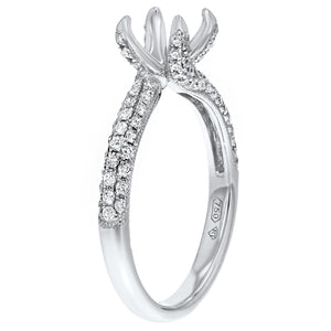 18K White Gold Semi-mount Ring, 0.57 Carats