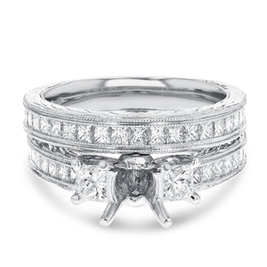 18K White Gold Wedding and Engagement Ring Set, 1.66 Carats