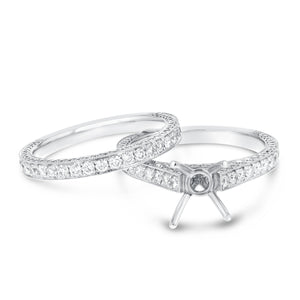 18K White Gold Wedding and Engagement Ring Set, 1.70 Carats