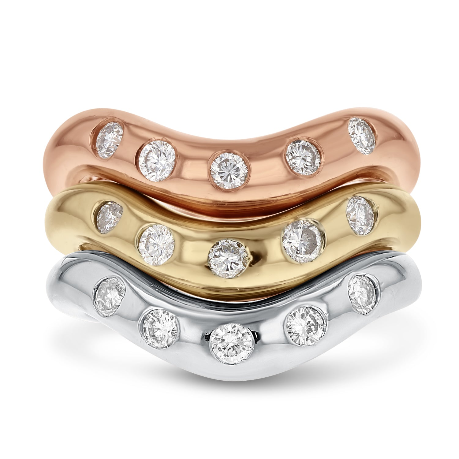 18K WHITE YELLOW AND ROSE GOLD Statement Ring, 0.75 Carats