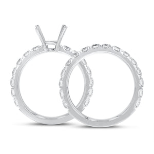 18K White Gold Wedding and Engagement Ring Set, 2.25 Carats