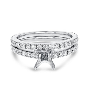 18K White Gold Wedding and Engagement Ring Set, 1.08 Carats