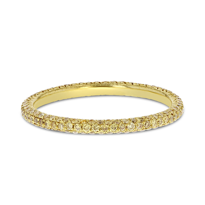 Yellow Diamond Yellow Gold Eternity Band, 0.55 Carats