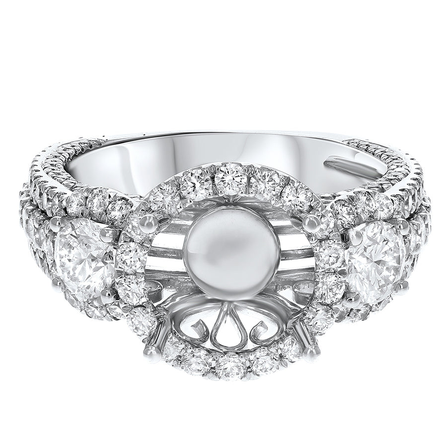 18K White Gold Semi-mount Ring, 2.02 Carats - R&R Jewelers
