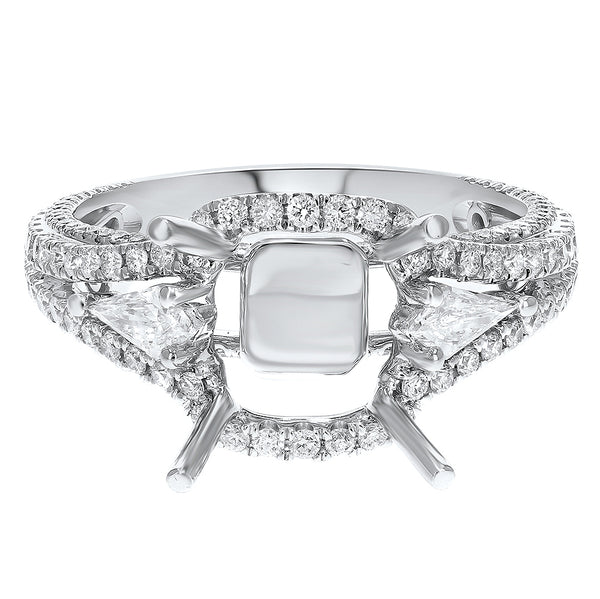 18K White Gold Semi-mount Ring, 0.99 Carats