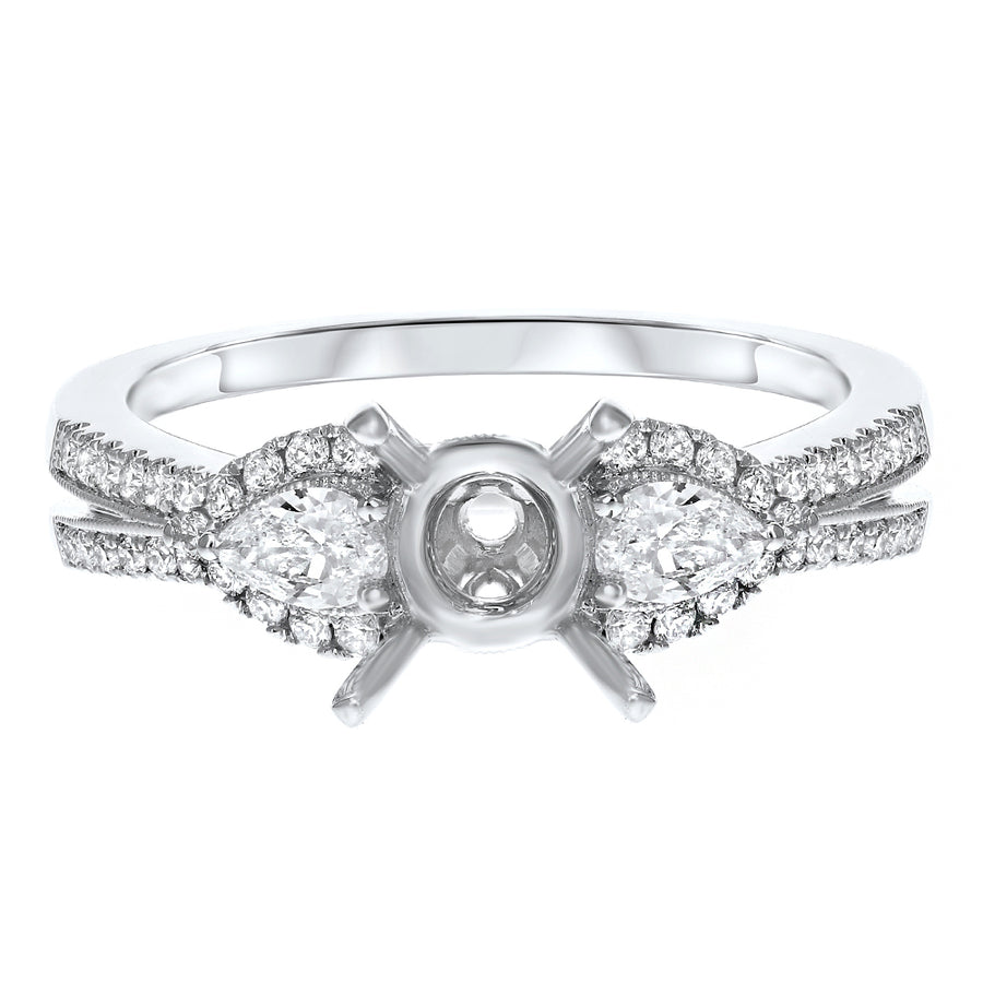 18K White Gold Semi-mount Ring, 0.55 Carats