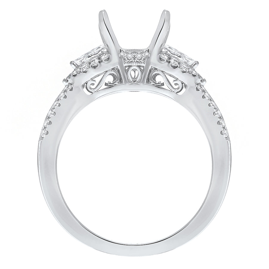 18K White Gold Semi-mount Ring, 0.55 Carats - R&R Jewelers