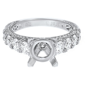 18K White Gold Semi-mount Ring, 1.78 Carats