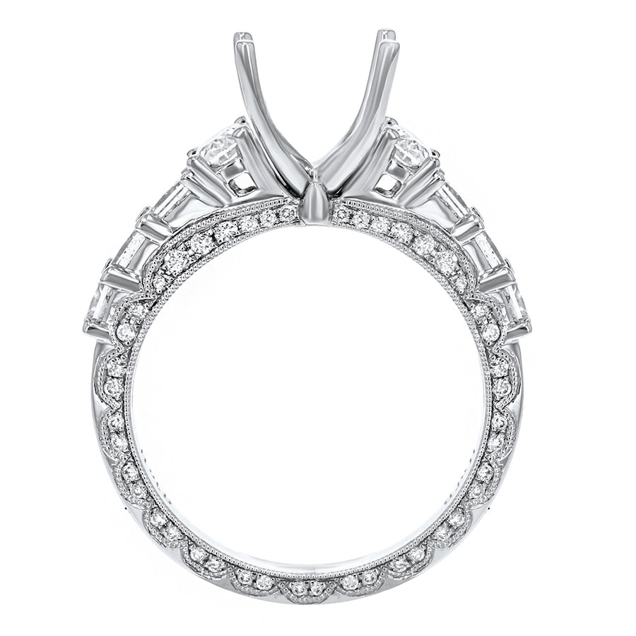 18K White Gold Semi-mount Ring, 1.41 Carats - R&R Jewelers