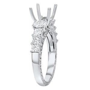 18K White Gold Semi-mount Ring, 1.41 Carats