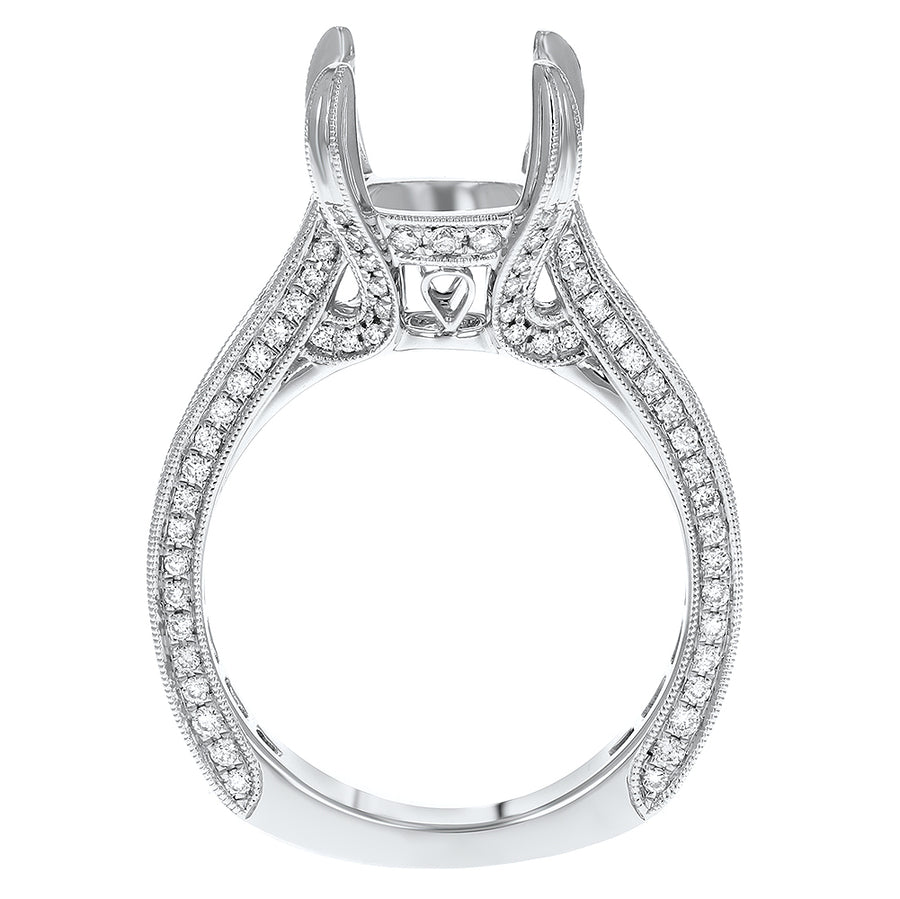 Diamond Semi Mount Ring with Milgrain - R&R Jewelers