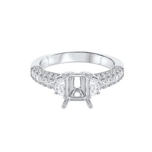18K White Gold Semi-mount Ring, 0.73 Carats