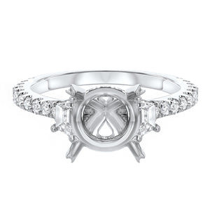18K White Gold Semi-mount Ring, 0.77 Carats