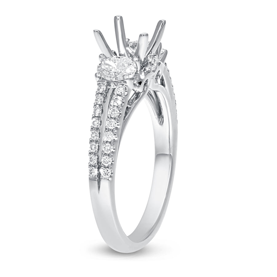 18K White Gold Semi-mount Ring, 0.68 Carats - R&R Jewelers