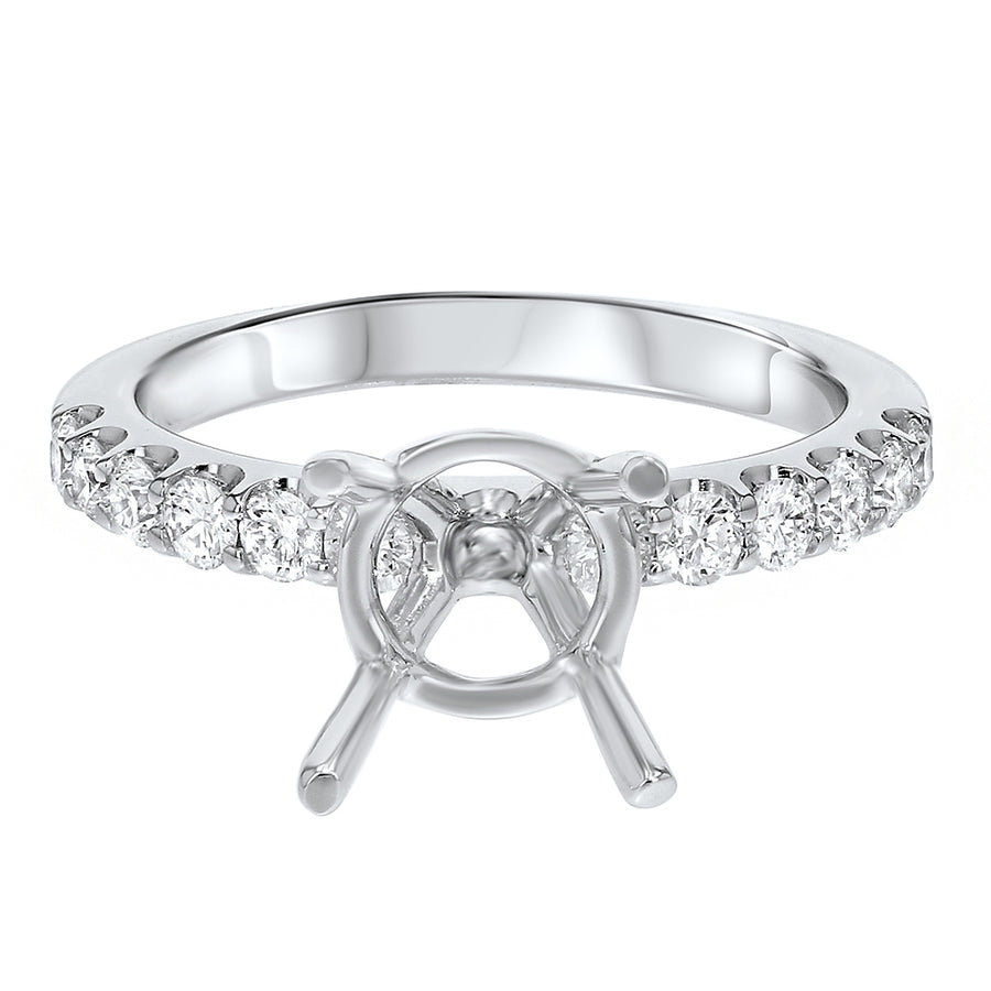 Scalloped Pave Diamond Semi Mount Ring - R&R Jewelers