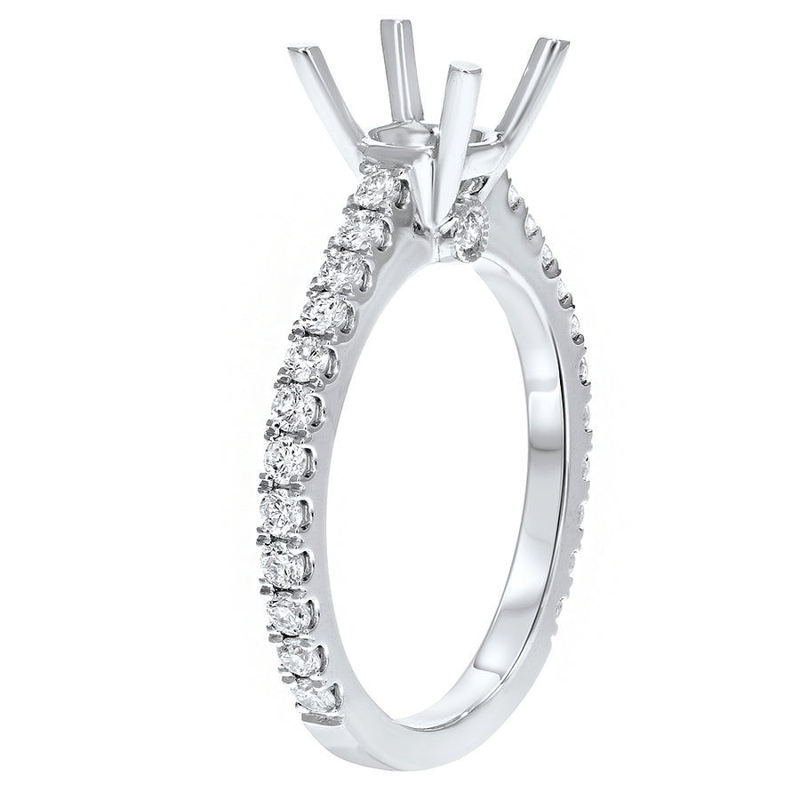 18K White Gold Semi-mount Ring, 0.54 Carats - R&R Jewelers
