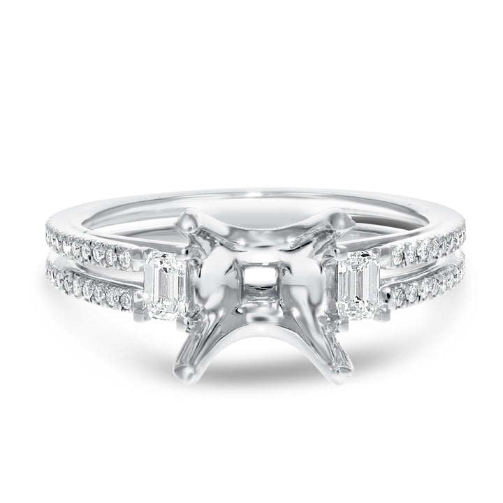 18K White Gold Semi-mount Ring, 0.53 Carats