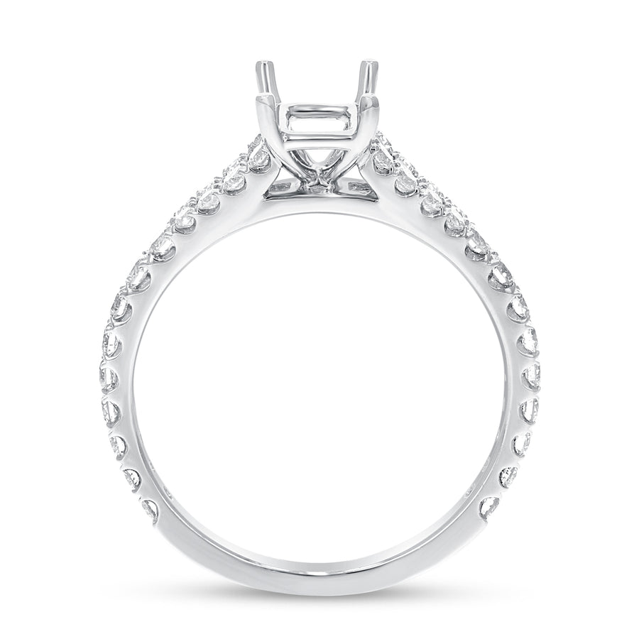 18K White Gold Semi-mount Ring, 0.59 Carats