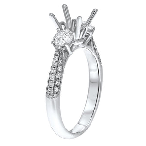 18K WHITE GOLD SEMI-MOUNT Semi-mount Ring, 0.83 Carats - R&R Jewelers