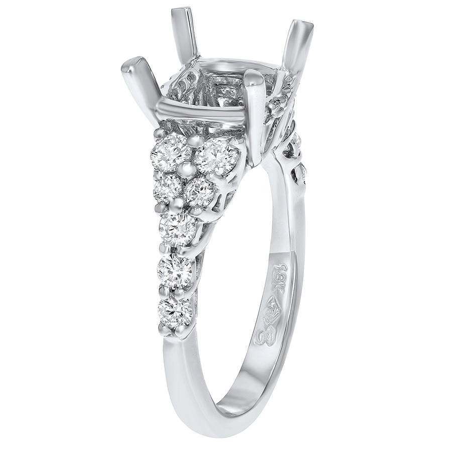 18K White Gold Semi-mount Ring, 0.77 Carats - R&R Jewelers