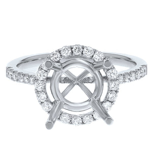 18K White Gold Semi-mount Ring, 0.47 Carats
