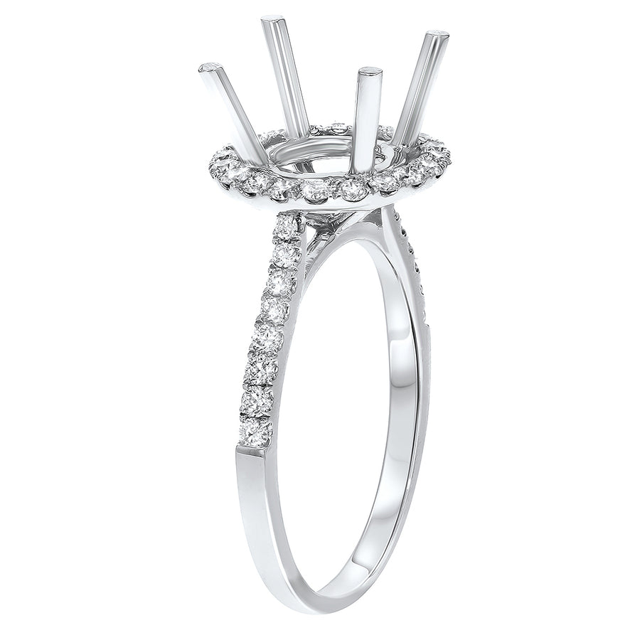 Diamond Halo Cathedral Semi Mount Ring - R&R Jewelers