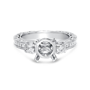 18K White Gold Semi-mount Ring, 1.44 Carats - R&R Jewelers