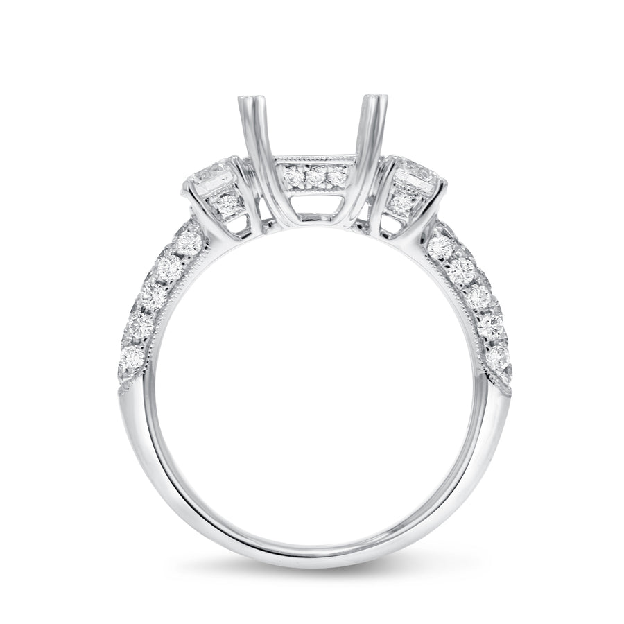 18K White Gold Semi-mount Ring, 0.92 Carats - R&R Jewelers