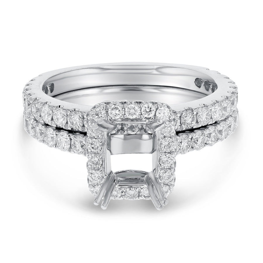 18K White Gold Wedding and Engagement Ring Set, 1.58 Carats - R&R Jewelers