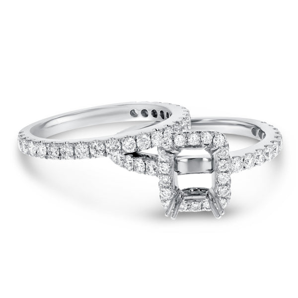 18K White Gold Wedding and Engagement Ring Set, 1.58 Carats