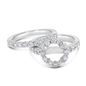 18K White Gold Wedding and Engagement Ring Set, 1.36 Carats - R&R Jewelers